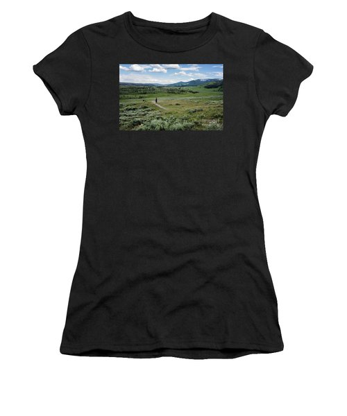 Women's T-Shirt featuring the photograph Yellow Stone Mountains by Mae Wertz