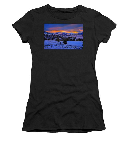 Yellowstone Winter Morning Women's T-Shirt (Athletic Fit)