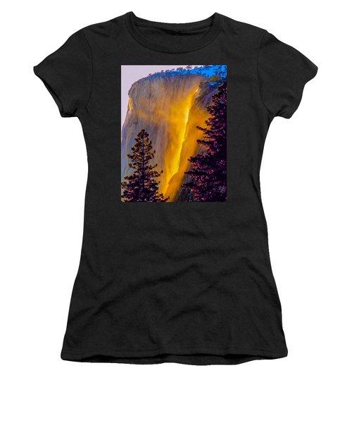 Yosemite Firefall Painting Women's T-Shirt