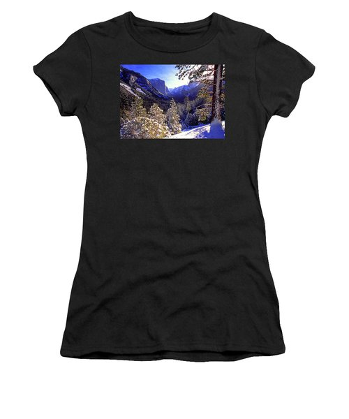 Yosemite Valley In Winter, California Women's T-Shirt (Athletic Fit)