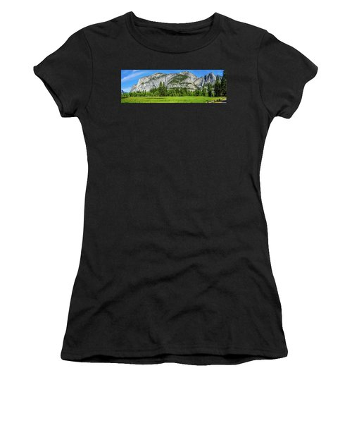 Yosemite West Valley Meadow Panorama #2 Women's T-Shirt (Athletic Fit)