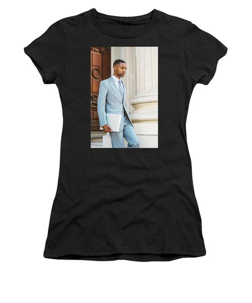 Young African American Businessman Working In New York Women's T-Shirt