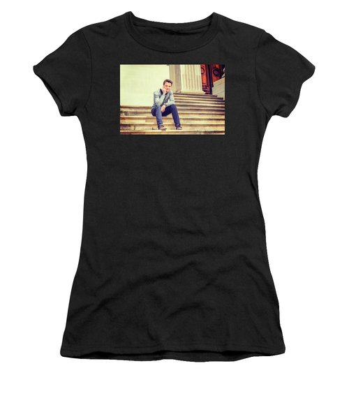 Women's T-Shirt (Athletic Fit) featuring the photograph Young College Student 15042515 by Alexander Image