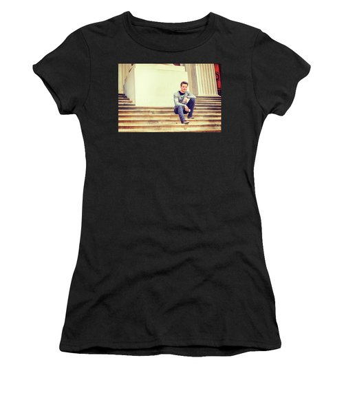 Women's T-Shirt (Athletic Fit) featuring the photograph Young College Student On Campus 15042514 by Alexander Image