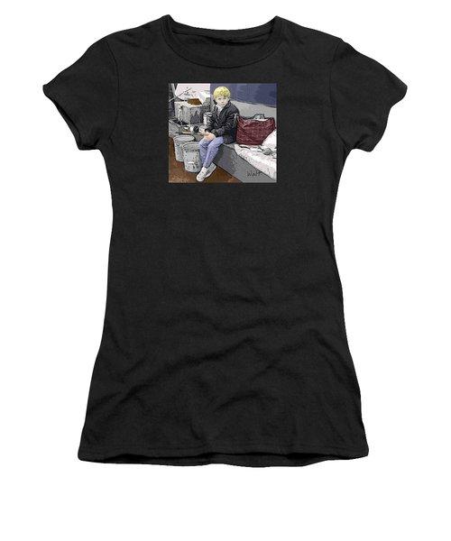 Women's T-Shirt (Junior Cut) featuring the digital art Young Fisherman by Walter Chamberlain