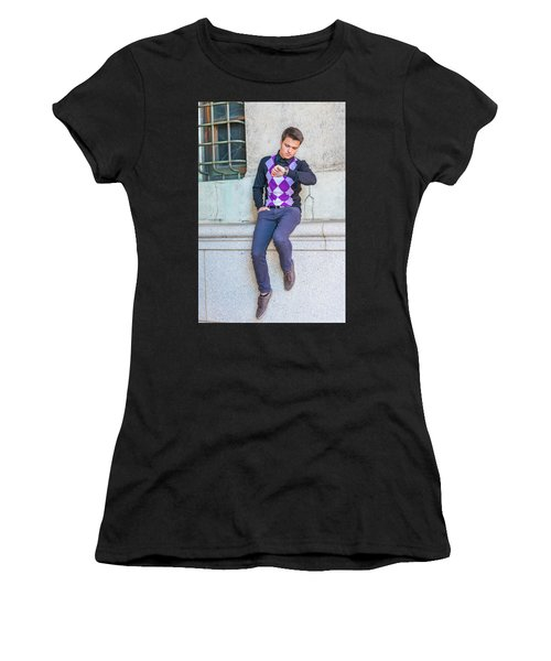 Women's T-Shirt (Athletic Fit) featuring the photograph Young Man Casual Fashion In New York 15042518 by Alexander Image
