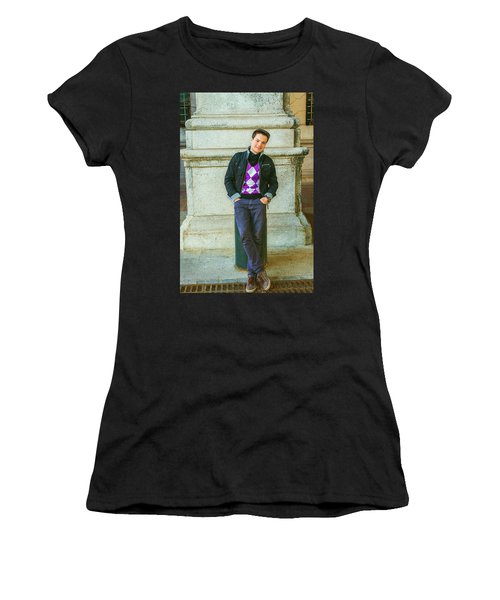 Women's T-Shirt (Athletic Fit) featuring the photograph Young Man Casual Fashion In New York 15042519 by Alexander Image