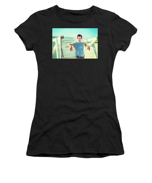Young Man Relaxing On The Beach Women's T-Shirt