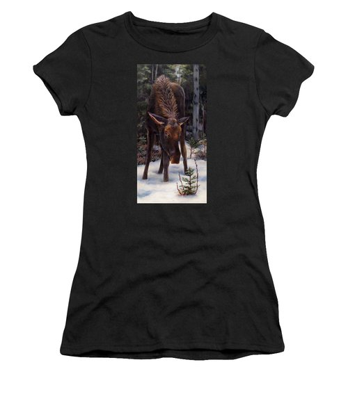 Young Moose And Snowy Forest Springtime In Alaska Wildlife Home Decor Painting Women's T-Shirt (Athletic Fit)
