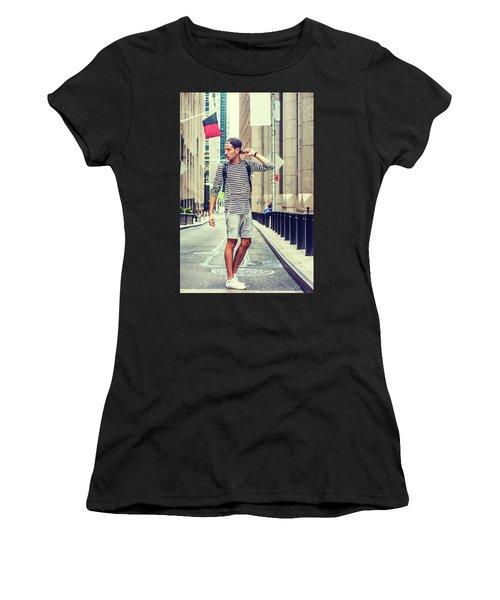 Young Russian Man Traveling In New York Women's T-Shirt