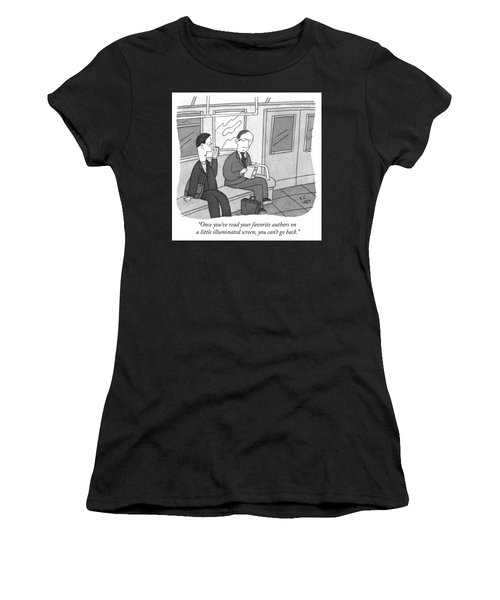 Your Favorite Authors On A Little Illuminated Screen Women's T-Shirt