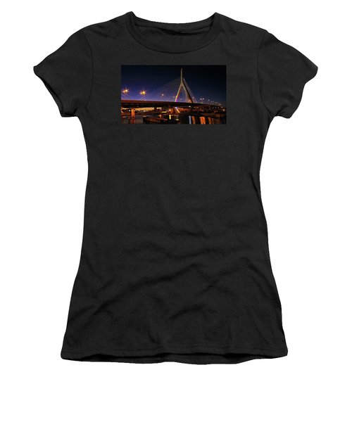 Zakim Bridge Boston Massachusetts At Night Women's T-Shirt