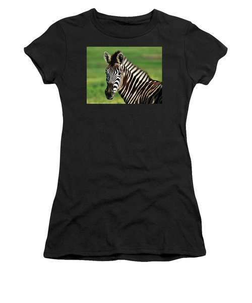 Zebra Close Up Women's T-Shirt (Athletic Fit)