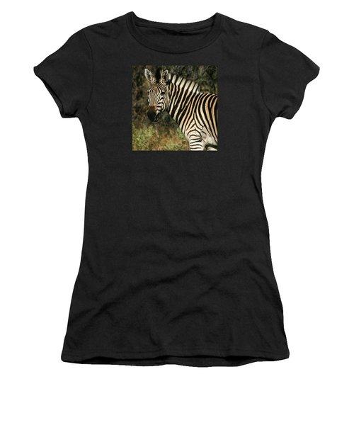 Zebra Watching Sq Women's T-Shirt (Athletic Fit)