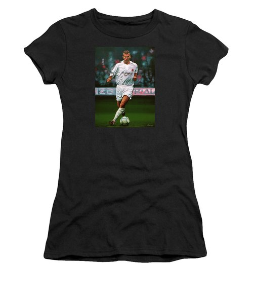 Zidane At Real Madrid Painting Women's T-Shirt (Junior Cut) by Paul Meijering
