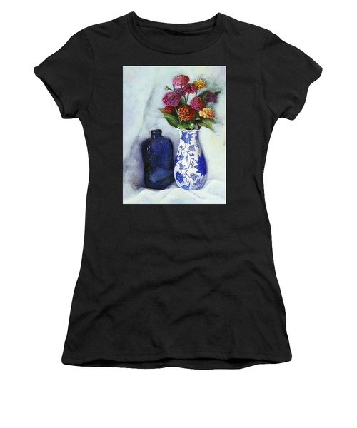 Zinnias With Blue Bottle Women's T-Shirt (Athletic Fit)