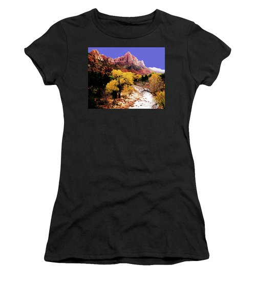 Women's T-Shirt (Athletic Fit) featuring the photograph Zion's Watchman by Norman Hall