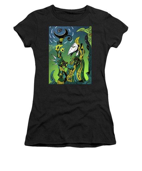Women's T-Shirt featuring the digital art Birdman by Sotuland Art
