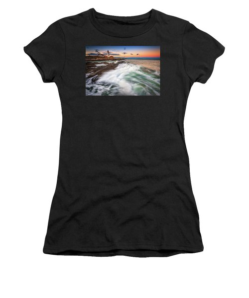 Women's T-Shirt (Athletic Fit) featuring the photograph High Tide At Dusk by Rick Berk