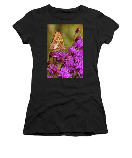 Moth On Purple Flowers Women's T-Shirt