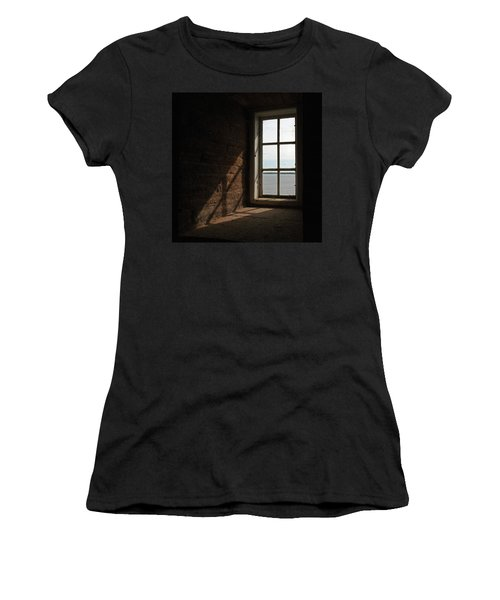 Women's T-Shirt featuring the pyrography The Window by Magnus Haellquist