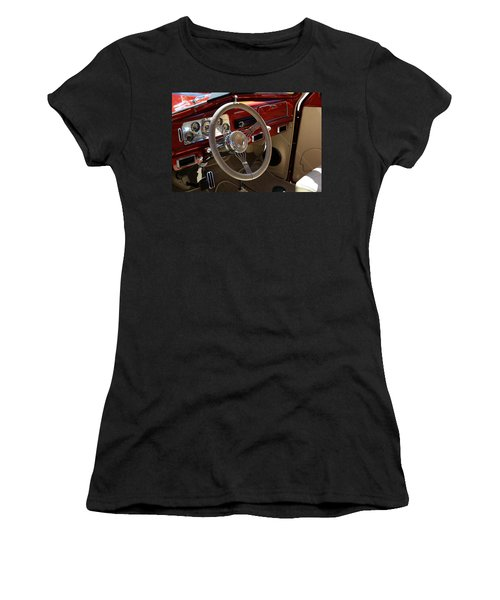 Women's T-Shirt featuring the photograph 1938 Pontiac Silver Streak Interior by Debi Dalio