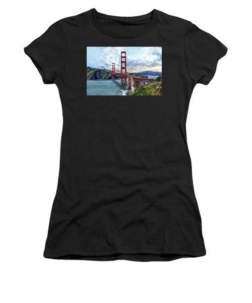 Women's T-Shirt (Athletic Fit) featuring the photograph Golden Gate Bridge by Anthony Dezenzio
