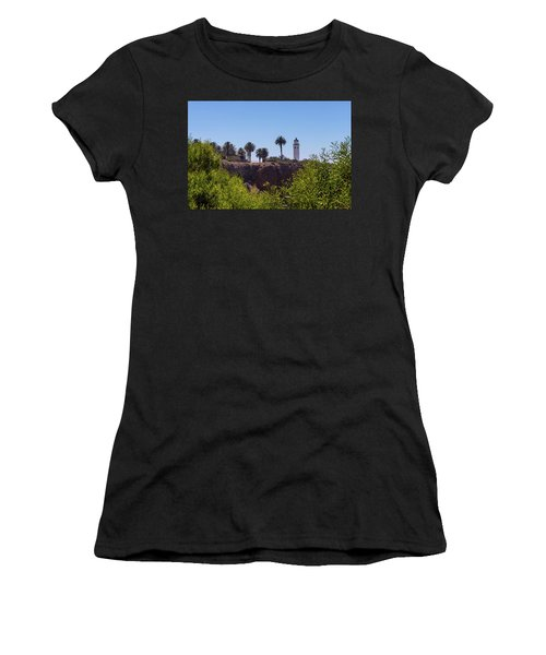 Women's T-Shirt (Athletic Fit) featuring the photograph Point Vicente Lighthouse by Ed Clark