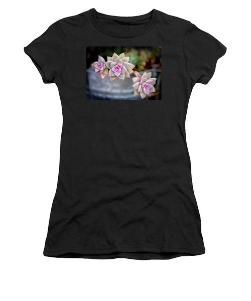 Women's T-Shirt (Athletic Fit) featuring the photograph 3 Succulents by John Rodrigues