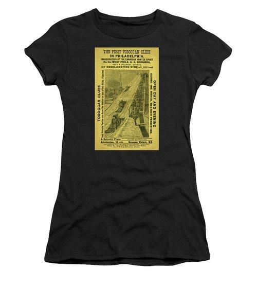 Advertisement For The First Toboggan Slide In Philadelphia Women's T-Shirt