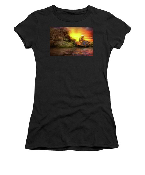 Women's T-Shirt (Athletic Fit) featuring the photograph Animal - Dog - Up The Creek Without A Pawdle by Mike Savad