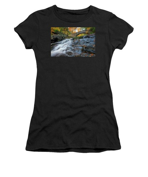 Women's T-Shirt (Athletic Fit) featuring the photograph Arch Bridge At Vaughan Woods by Rick Berk