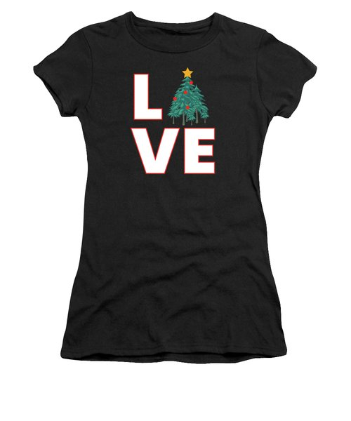 Women's T-Shirt featuring the mixed media Love Christmas by David Millenheft