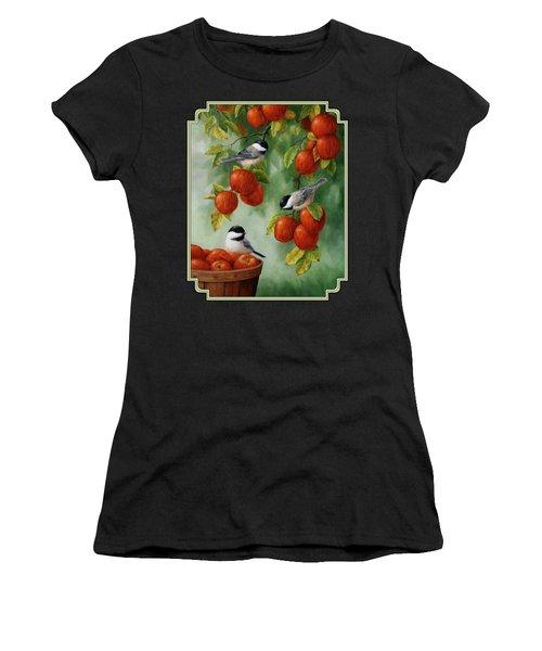 Bird Painting - Apple Harvest Chickadees Women's T-Shirt