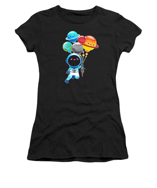 Astronaut With Planet Balloons Outta Space Women's T-Shirt