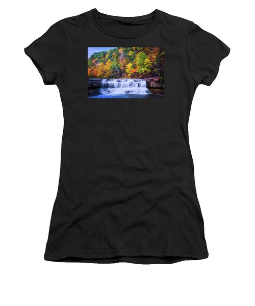 Women's T-Shirt (Athletic Fit) featuring the photograph Autumn Beauty At Lower Taughannock Falls  by Lynn Bauer