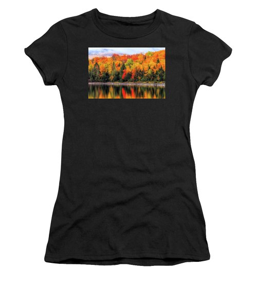 Women's T-Shirt (Athletic Fit) featuring the photograph Autumn Colors Reflection by Dan Sproul