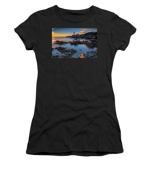 Women's T-Shirt (Athletic Fit) featuring the photograph Autumn Morning At Portland Head Lighthouse  by Rick Berk