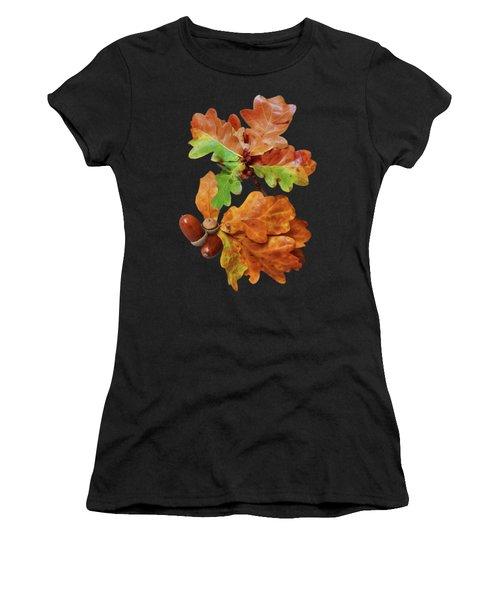 Autumn Oak Leaves And Acorns On Black Women's T-Shirt