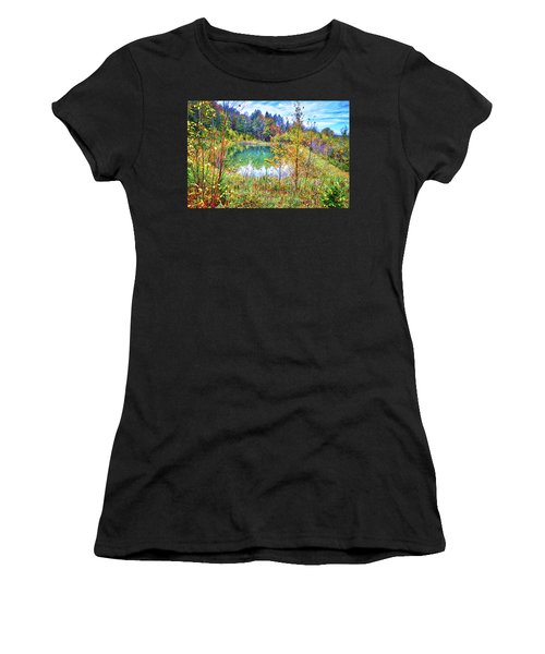Women's T-Shirt (Athletic Fit) featuring the photograph Autumn Reflections At The Pond by Lynn Bauer