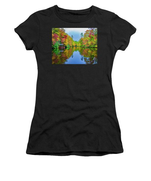 Women's T-Shirt (Athletic Fit) featuring the photograph Autumn On Mirror Lake by Andy Crawford