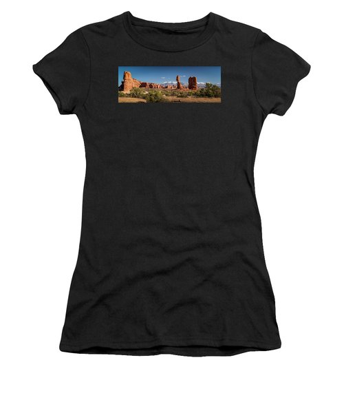 Women's T-Shirt (Athletic Fit) featuring the photograph Balanced Rock And The La Sal Mountain Range by David Morefield