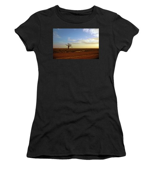 Women's T-Shirt (Athletic Fit) featuring the photograph Baobab Tree At Sunset by Mark Duehmig
