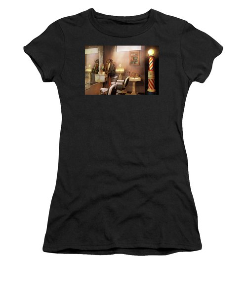 Women's T-Shirt (Athletic Fit) featuring the photograph Barber - Basement Barber by Mike Savad