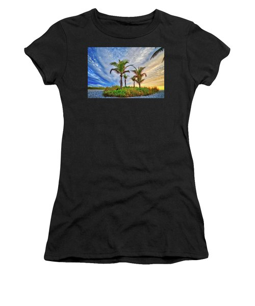 Women's T-Shirt (Athletic Fit) featuring the photograph Beach Sunrise Over The Palms by Lynn Bauer