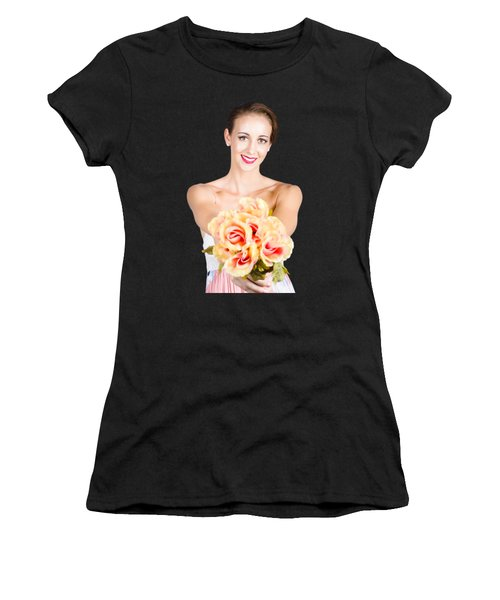 Beautiful Woman Holding Florist Flowers Women's T-Shirt (Athletic Fit)