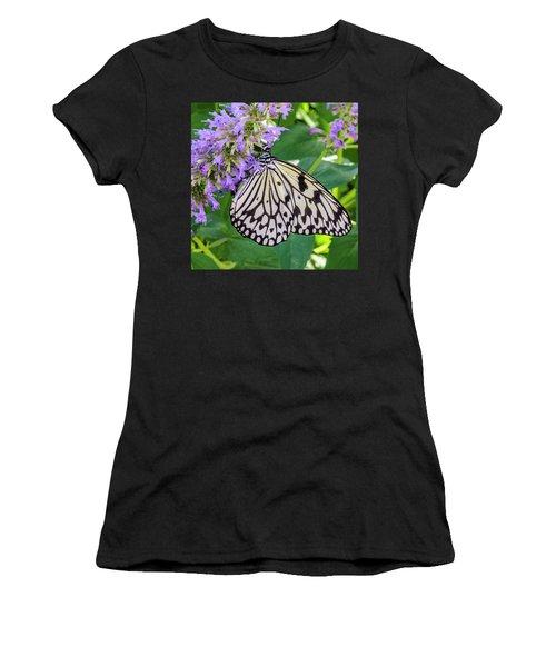 Black And White On Purple Women's T-Shirt