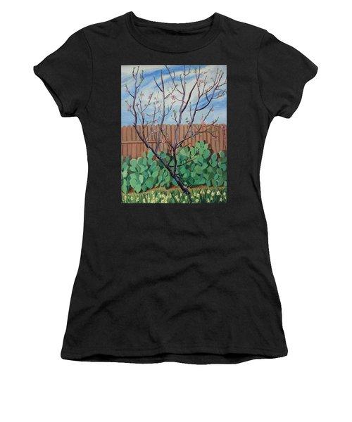 Blooming Peach In Our San Antonio Backyard Women's T-Shirt