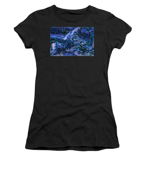 Women's T-Shirt (Athletic Fit) featuring the digital art Blue Nightmare by Mike Braun