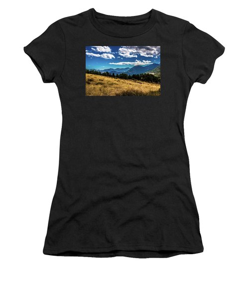 Women's T-Shirt (Athletic Fit) featuring the photograph Blue Skies And Mountains by James L Bartlett